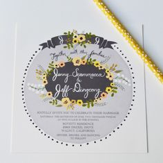 Grey and Yellow Palette Custom Invite Suite by Loft Life Press