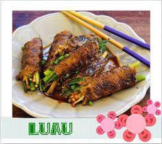 Japanese Beef Rolls Hawaiian Luau Food, Hawaiin Food, Hawaiian Desserts, Hawaiian Theme, Hawaiin Appetizers, Appetizer Recipes, Beef Roll, Recipe Boards, Recipe Using