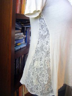 for my too tight shirts: DIY T-Shirt Revamp with Lace or contrasting fabric