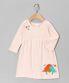 Take a look at this Peach Love Bird Dress by Truffles Ruffles on #zulily today!