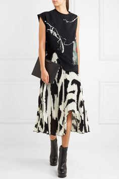 Proenza Schouler   Asymmetric pleated printed chiffon midi skirt   NET-A-PORTER.COM