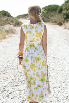 VTG 1960s 60s Yellow and Green Floral Maxi by WhenDecadesCollide, $45.00