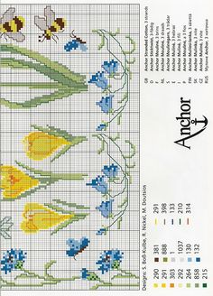 voorjaarsbloemen kruissteekpatroon 1