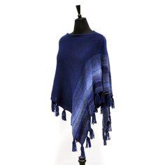 Navy blue knitted wool winter poncho women men boho knitted