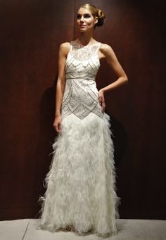 sue wong wedding dress : art deco, with ostrich feathers (like the top, not the feathers)