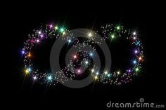 Infinity symbol composed of variegated sparkling twinkling stars isolated on black background.