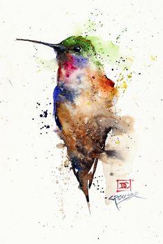 Hummingbird watercolor art painting by Dean Crouse.