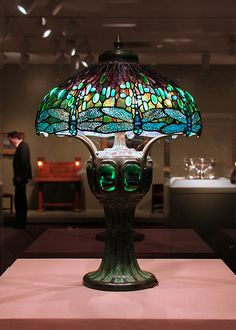 Hanging Head Dragonfly Shade on Mosaic and Turtleback Base | Tiffany Studios c 1906 | design attributed to Clara Pierce Wolcott Driscoll (1861-1944)