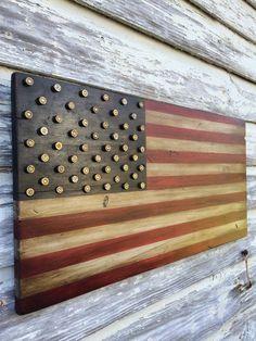 Wood Pallets Military Amendment Wood American Flag w brass bullet stars Pallet Flag, Pallet Art, Diy Pallet Projects, Pallet Ideas, Craft Projects, Craft Ideas, American Flag Sizes, American Flag Pallet, Diy Usa