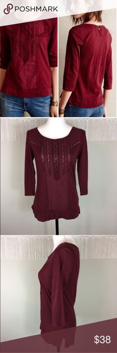 Anthro Meadow Rue Tuxedo Ruffle Cotton Tee Anthropologie Meadow Rue Tuxedo Ruffle Cotton Tee. Size small. Approximate measurements flat laid are 24 1/2' long, 16' bust, and 17' sleeves. Pre-owned condition with basic wear.  It is a maroon red color. ❌I do not Trade 🙅🏻 Or model💲 Posh Transactions ONLY Anthropologie Tops Blouses