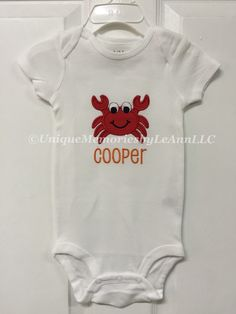 Personalized Crab embroidered applique onesie or t-shirt with FREE name or monogram  - Infants/toddler by UniqueMemoriesLeAnn on Etsy