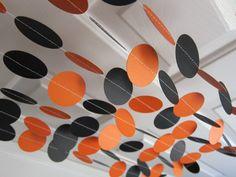 Paper Garland, School Decorations, Halloween Paper Garland, Orange and Black Garland, Fall Garland. $12.00, via Etsy.