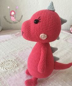 : Amigurumi – Cute Dinosaur Recipe – Knitting Models- # amigurumi the the Crochet Dinosaur, Cute Dinosaur, Clothing Hacks, Knitted Poncho, Amigurumi Doll, Knitting Socks, Toys For Boys, Couture, Hand Embroidery