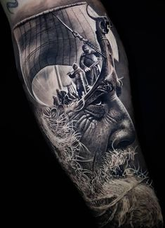 Realistic Tattoos with Morphing Effects by Benji Roketlauncha - awesome double exposure tattoo © tattoo artist Benji_Roketlauncha 💘💘💘💘💘 - Viking Tattoo Sleeve, Norse Tattoo, Celtic Tattoos, Sleeve Tattoos, Armor Tattoo, Crow Tattoo Design, Viking Tattoo Design, Tattoo Designs, Future Tattoos