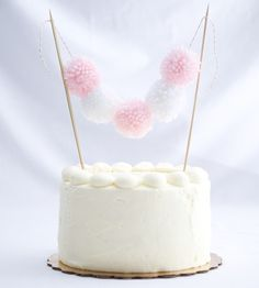 Baby Shower Pom Pom Cake Topper