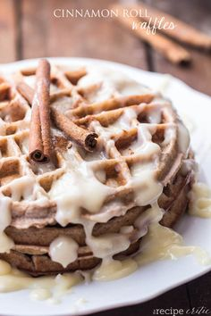 Cinnamon Roll Waffles | 34 Ways To Eat Waffles For Every Meal