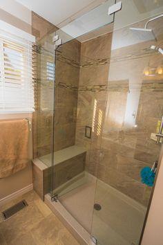 Bathrooms Shower Base, Glass Shower, Bathroom Layout, Kitchen And Bath, Corner Bathtub, House, Bathrooms, Tile, Inspiration