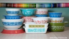 Vintage Pyrex and washi tape collection
