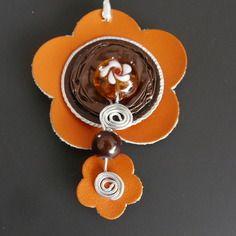 Fleur cuir orange nespresso marron fil alu