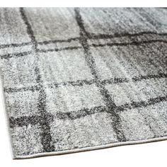 Zuri Chalkboard Checkers Light Gray Area Rug