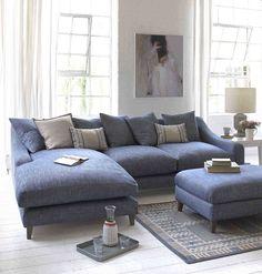 46 Living Room Design Furniture Sofa Set is Perfect for Your Home Living Room Sofa, Home Living Room, Living Room Designs, Living Spaces, Living Room With Corner Sofa, Blue Living Room Furniture, Living Area, Wicker Furniture, Sofa Colors