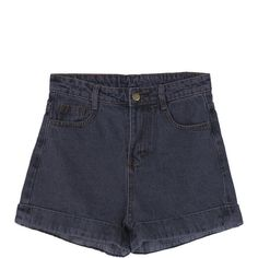 Women Casual High Waist Flanging Denim Shorts ($417,811) ❤ liked on Polyvore featuring shorts, short jean shorts, jean shorts, highwaist shorts, high rise shorts and high-rise shorts