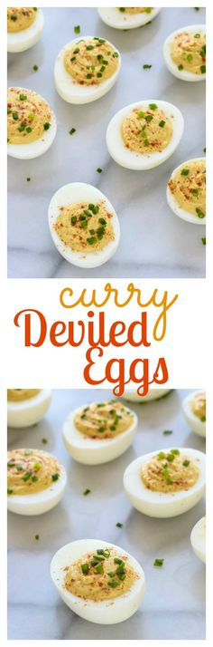 Curried Deviled Eggs. A delicious spin on classic deviled eggs that's a hit at any party! Perfect for Easter or to use up leftover hard boiled eggs. {healthy recipe with Greek yogurt}