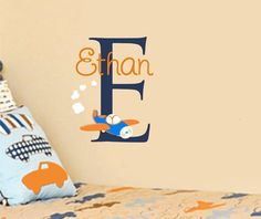 This cute little plane is zipping around your little ones name and initial leaving cute little clouds behind him. This decal includes the 21 tall