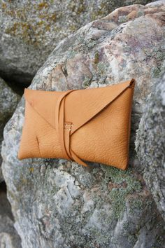 Addy  Leather Clutch Envelope Clutch Soft Light by TandTLeather