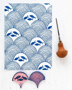 """Time for """"fish on Friday"""" ( Time for weekend. I hope you have a lovely one. 🌊 I have wanted to do a… Stamp Printing, Printing On Fabric, Screen Printing, Eraser Stamp, Clay Stamps, Stamp Carving, Fabric Stamping, Handmade Stamps, Linoprint"""