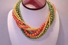 Vintage Salmon Peach and Pearl Bead Necklace by JewelsAndMyGirls3, $19.00