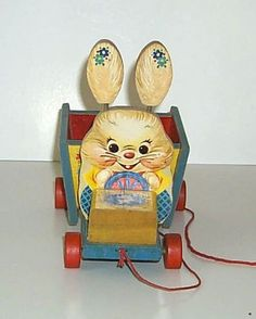 Fisher Price 306 Bizzy Bunny Cart Easter Pull Toy from 1957-1959 courtesy of The Halliburton Collection