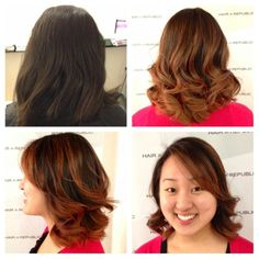 Short hair can have Ombré too!  Birthday girl Kristen was given a warm Auburn Caramel Ombré with some Balayage performed by New Talent Stylist #JeanneNguyen! #Ombré #Balayage #ShortHair #Auburn #Caramel #OttawaSalon