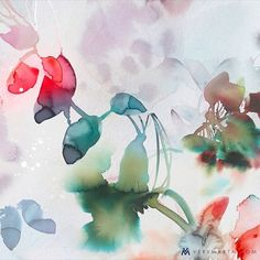 Watercolor Art Abstract Flora 3 by Marta Spendowska, VERYMARTA. Watercolor and wet media series inspired by yearly trips to Poland. Abstract Watercolor Art, Abstract Flowers, Watercolor Print, Watercolor Illustration, Watercolor Flowers, Watercolor Paintings, Illustration Fashion, Watercolours, Illustrations