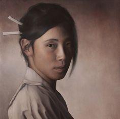 Portrait simple de Yu Han Wang par Jean michel Salvador Huile sur toile 80x80cm