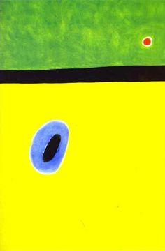 The Larks Wing Encircled with Golden Blue Rejoins the Heart of the Poppy Sleeping on a Diamond Studded Meadow 1967 - by Joan Miro  El ala de la alondra aureolada de azul de oro llega al corazón de la amapola que duerme sobre el prado engalanado de diamantes (Joan Miró, 1967)