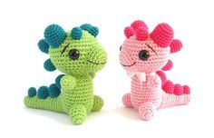 Crochet your own baby dragon rattle. I suggest Bonbons yarn for a variety of color combinations. Pattern by Sidrun.