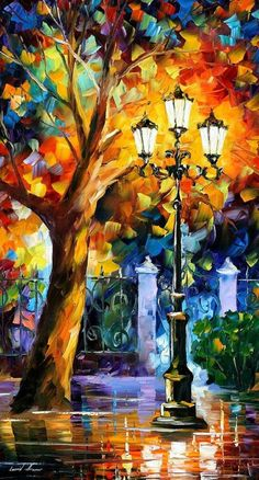 Pallet knife oil painting Tree and street light