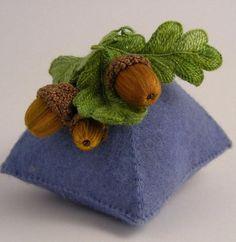 Jan Kerton acorn pin cushion Stumpwork.