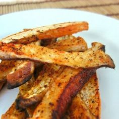 Turnip Fries- I seasoned mine with garlic, pepper, cumin, chilli powder, and sage. You can make them plain and eat with ketchup and they are just as good.