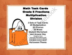 Math Task Cards Grade 5 Multiplication/Division of Fractions Halloween Theme from Mrs. Mc's Shop on TeachersNotebook.com -  (20 pages)  - Here's a collection of task cards that will give your students practice in fractions. There are 60 cards in all.