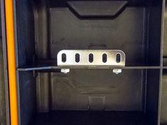 Closeup of the white board mounting brackets Ham Radio Kits, Tool Box On Wheels, Go Kit, John Wright, Mounting Brackets, Emergency Preparedness, Radios, Building, Board