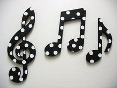 Music Notes Wall Decor Black and White by TWOPINKDOTS on Etsy.    And it's POLKA DOTS!!
