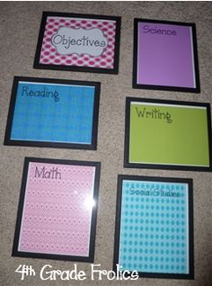 Great idea for daily objective display.  Scrapbook paper and cheap frames!