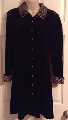 22.72$  Buy here - http://viacp.justgood.pw/vig/item.php?t=76rllj54543 - Women's Ronni Nicole Velvet w/ Leopard Trim & Buttons Little Black Dress Size 10 22.72$