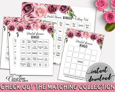 Bingo Bridal Shower Bingo Floral Bridal Shower Bingo Bridal Shower Floral Bingo Pink Purple party organizing, party organization BQ24C - Digital Product #bridalshower #bridetobe