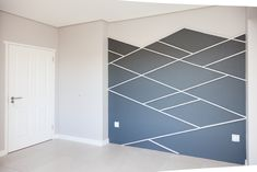 1058 on Schapejacht - Crontech Consulting Feature Wall Bedroom, Bedroom Wall, Geometric Wall Paint, Light Paint Colors, Grey Interior Design, Tile Flooring, Country Estate, Grey Paint, Cupboards