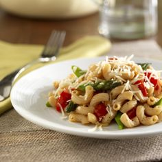 It's asparagus season! Pair it with with your pasta tonight for an easy summer meal: Whole Grain Elbow Pasta with Asparagus, Grape Tomatoes, and Asiago Cheese. #vegetarian