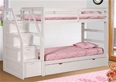 Logan Twin White Bunk Bed with Stairs and Trundle | Beds for Girls