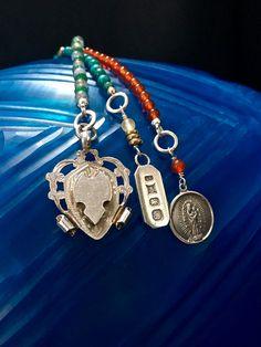Silver Ingot Bracelet, Gemstone Charm Bracelet, Bullion Charm, Vintage Silver…